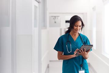 Nurse walking in a hospital